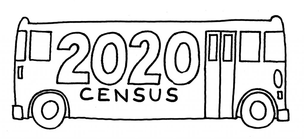 A hand drawn black and white bus with 2020 census written on the side